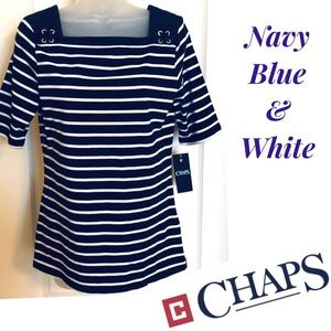 Chaps Top Navy Blue & White & Wonderful 🌟